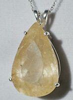 27.76ct Golden Rutilated Quartz .925 Sterling Silver Huge Pear Pendant Necklace