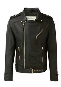 💯 Genuine Boda Skins Soft Black Nappa Leather Classic Biker Jacket Size Xs New by Ebay Seller