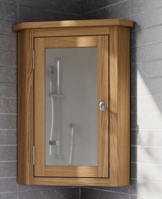 Waverly Oak Cabinet Wood Corner Bathroom Storage Cupboard Unit Mirrored Doors For Sale Online Ebay