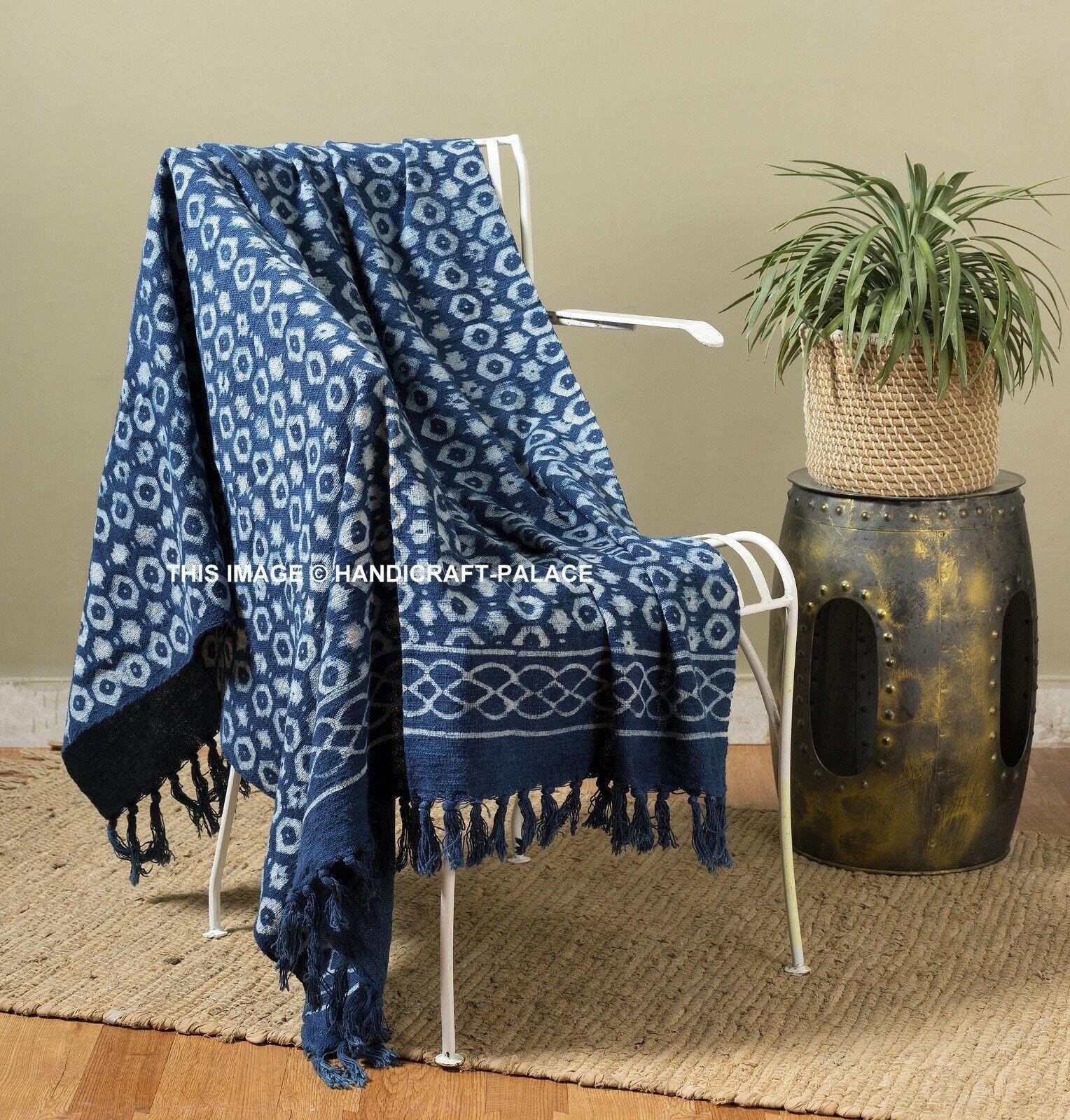 Indigo 100% Baumwolle Hand Block Ikat Bedruckt Lounge Sofa Groß Überwurf Decke