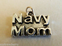 Silver Tone Metal Collectible Us Military Navy Mom Charm Or Pendant