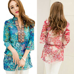 KQ-Women-039-s-Fashion-Summer-Korean-Style-Ethnic-Loose-Chiffon-Blouse-T-Shirt-Welc