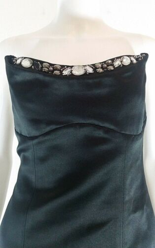 Abs gioiello senza Cocktail alto Satin Black Womens spalline 6 Dress Sweetheart rqxnRSwrf