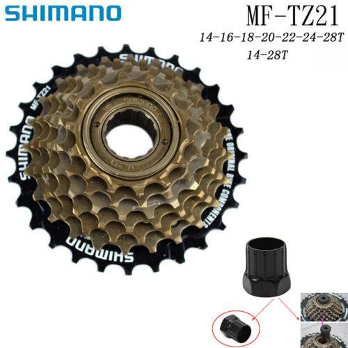 Shimano MF-TZ21 7 Speed MTB Bike Freewheel 14-28T Index Screw On W// Remove Tool