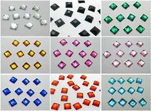 200 Acrylic Flatback Faceted Square Rhinestone Sew on bead 10X10mm Color Choice