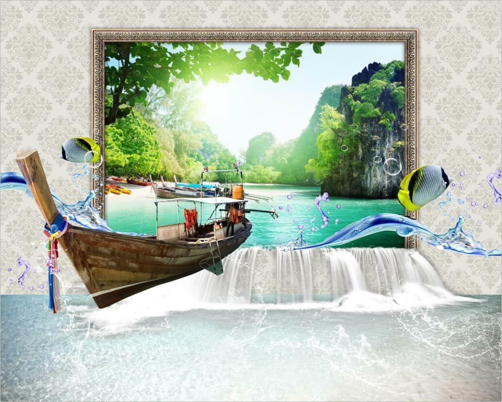 3D Lake Mountain 234 Wall Paper Wall Print Decal Wall Deco Indoor Wall Murals