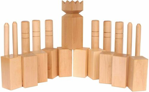 Amish-Made Deluxe Maple Hardwood Kubb Game with Clear Protective Finish,...
