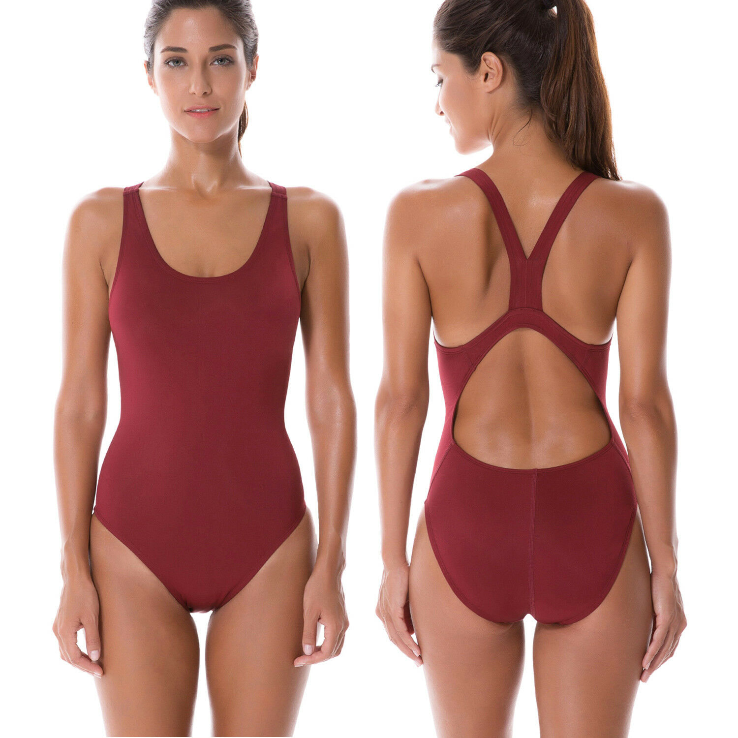 SYROKAN Womens Printed High Neck Maillot Athletic Training One Piece Swimsuit