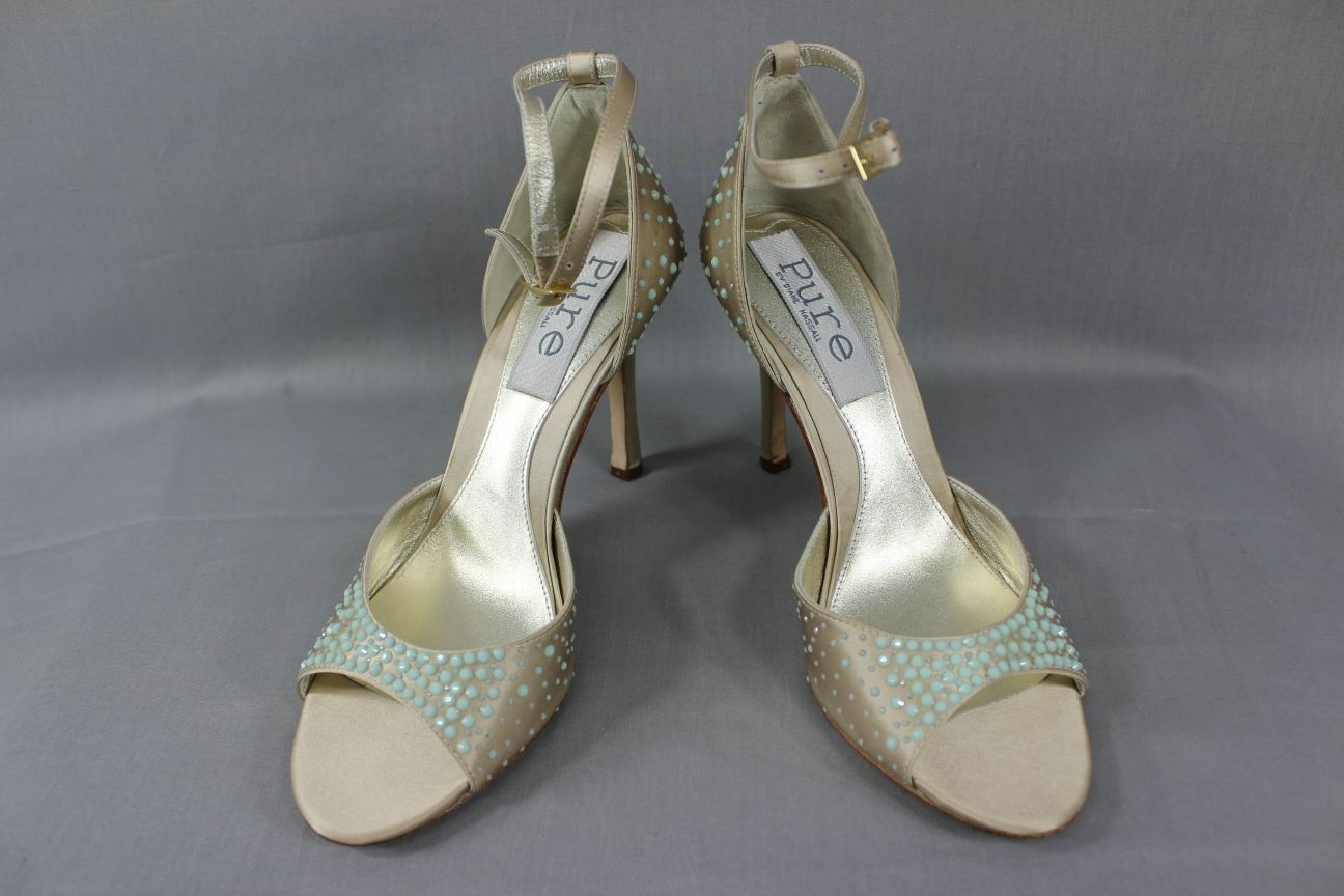 BNIB DIANE HASSALL Schuhe:SIZES 'PURE' CHAMPAGNE SILK DIAMONTE STUDDED BRIDAL Schuhe:SIZES HASSALL 2-7 7d8037