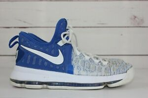 online retailer 13eac ce028 Details about Nike KD 9 Home Men's White/Blue Sz 7.5 Basketball Shoes  843392-411