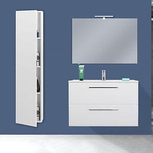 Mobile bagno moderno sospeso 80 cm bianco con colonna design specchio slim nuovo ebay - Mobile bagno a colonna con specchio ...