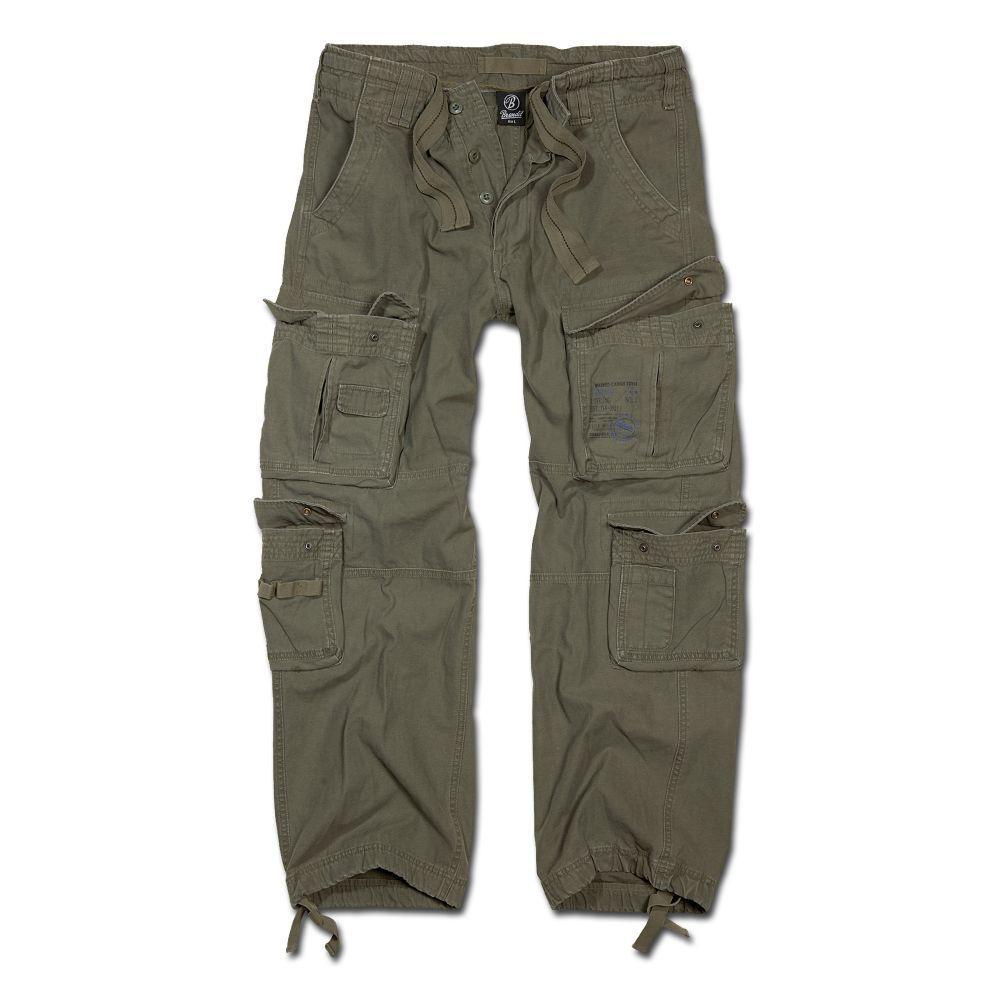Brandit Hose Pure Vintage Trousers Cargo Pant Hose 8 Taschen oliv 100% Baumwolle