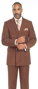 New Mens Double Breasted Pin Stripe Brown 2 Piece Gangster Suit ...