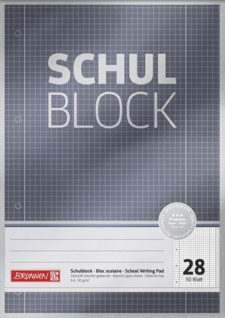 Schulblock Brunnen DIN A4 Premium Papier 90gr//qm mit Rand 4fach gelocht geleimt