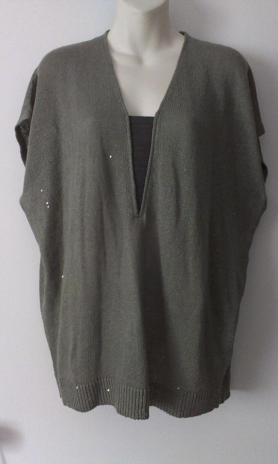 NWT BRUNELLO KUCINELLI Moss gröna, kvitterade Linjen Silk Knit Top Sz L