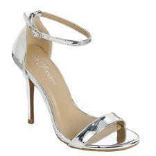 Metallic Open Toe Ankle Strap Pump Sandal Stiletto Heel Dress Prom Wedding Shoes