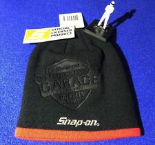 Snap On Performance Garage Debossed Beanie Hat Black / Red with Silver Logo NEW
