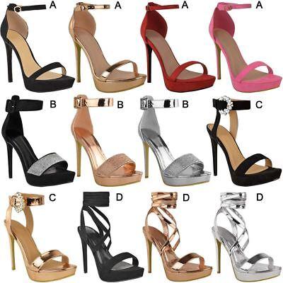 Womens Ladies Stilettos High Heels Strappy Platforms Sandals Diamante Shoes Size | eBay