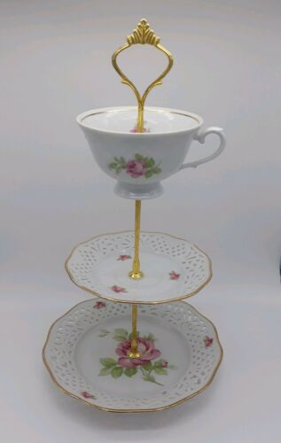 vintage china 3 tier cake stand white with gold trim pink floral