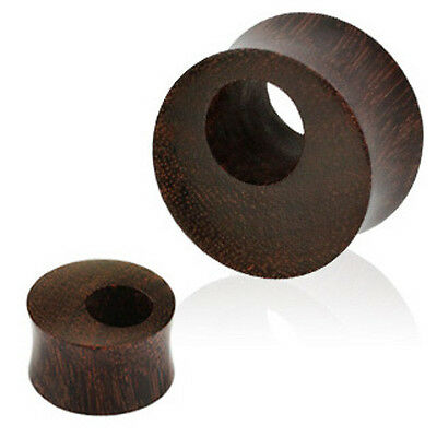 Pair Organic Tamarind Wood Double Flare Ear Plugs Tunnels Earlets Gauges