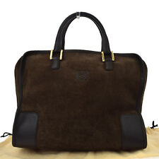 Authentic LOEWE MADRID Logos Amazona Hand Bag Suede Skin Leather Brown 09A613