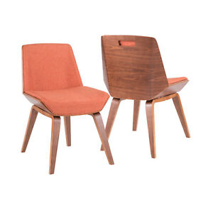 Outstanding Details About Corazza Mid Century Modern Dining Accent Chair In Walnut And Orange Lamtechconsult Wood Chair Design Ideas Lamtechconsultcom