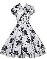Ladies 40's 50's Vintage Style Rockabilly Shirt Style Swing Jive Dress New 8-26