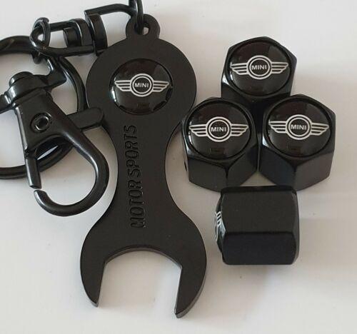 Cooper Clubman Uno Negro Tapas De Válvula Para el polvo con el logotipo de doble cara Llave Llavero