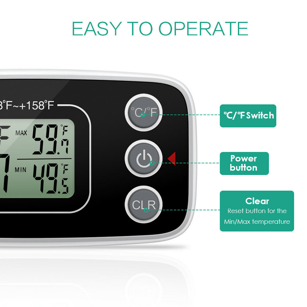 2*Refrigerator Fridge Thermometer Digital Freezer Thermometer with Hook for home