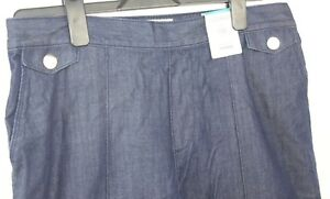 Marks-amp-Spencer-Blue-cotton-denim-standard-Rise-Tapered-Trousers-Size-14-long