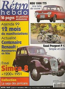 RETRO HEBDO 91 SIMCA HUIT 1200 1951 SIMCA 8 MOTO PEUGEOT P135 NSU 1000 TT