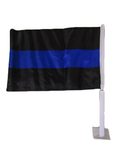 """12x18 Wholesale 12 Police Thin Blue Line Double Sided Car Vehicle 12/""""x18/"""" Flag"""