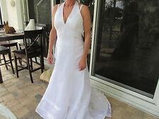 Halter Empire Waist Wedding Dress by GALINA David's Bridal Size 14 White