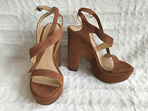 40e43ad5ee8 Image is loading Stuart-Weitzman-Saucy-Strappy-Suede-Platform-Sandals-Size-