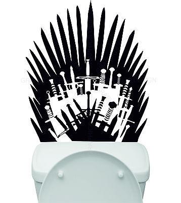 Game of Thrones Toilet Basin Bathroom Iron Throne Swords Art Vinyl Wall Sticker
