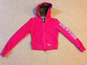 68107ca92 Victoria s Secret PINK Full-Zip Hoodie  BLING  Faux Fur Lined Hood S ...