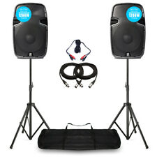 "Skytec SPJ12 V3 Active 1200W 12"" DJ Disco PA Speaker (Pair) with Stands"