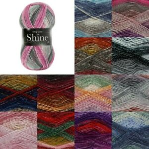 King-Cole-Shine-DK-Yarn-Knitting-Wool-100g-Ball-Glitter-Metallic-Thread