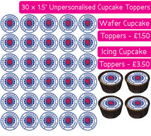 30 Glasgow Rangers Football Team Edible Wafer Icing Cupcakes