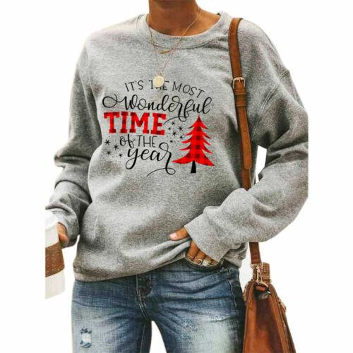 Damen Weihnachten Pullover Langarm Bluse Party Pulli Sweatshirt Warm Oberteile