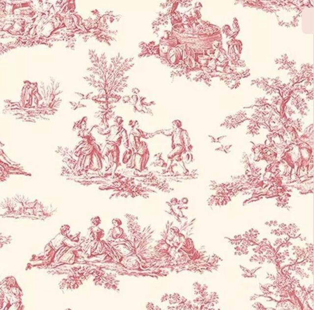 Norwall Wallpaper French Country Mini Red Toile On Cream Background Prepasted