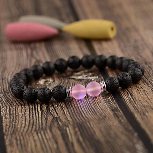 8 Mm Lava Stone huile essentielle Bracelet Matte Moonstone Femmes Hommes Couple Bracelets