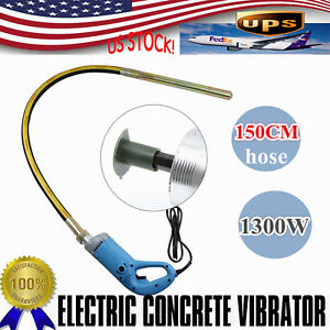 Heavy Duty 1300W Concrete Vibrator Remove Bubbles & Level Concrete w/4.9ft shaft