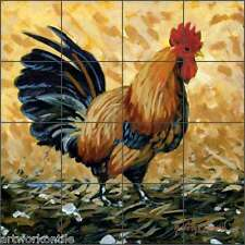 "Kitchen Tile Mural Backsplash Ceramic Altman Rooster Art 17"" x 17"" RWA009"