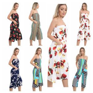 6763c9507a UK Ladies Women Summer Holiday Dress Long Bardot Beach Playsuit ...