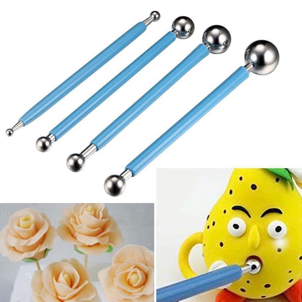 4 Pcs Fondant Cake Flower Metal Ball Modelling Decor Sugarcraft Tools
