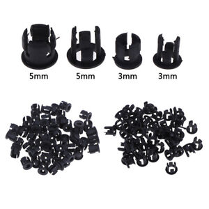 50Pcs-3mm-5mm-Plastic-LED-Holders-Clips-Bezels-Mounts-Cases-Housings-Black-Nz