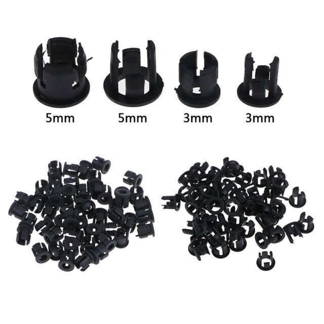 50Pcs 3mm/5mm Plastic LED Holders Clips-Bezels Mounts Cases Housings Bla RUS