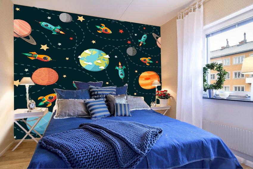 Papel Pintado Mural De Vellón Cohete Planeta 114 Paisaje Fondo De Pansize ES AJ