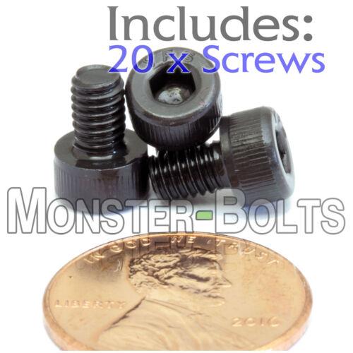 20 M4 x 6mm Socket Head Caps Screws 12.9 Alloy Steel DIN 912 Coarse 0.7 4mm